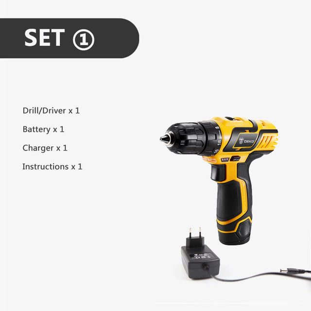 10.8V DC Lithium-Ion Battery Cordless Drill Driver Power Tools