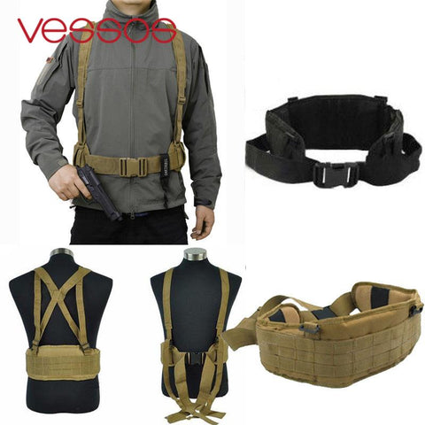Tactical Molle Vest Waist Padded Belt With H-shaped Suspender Nylon Cummerbunds