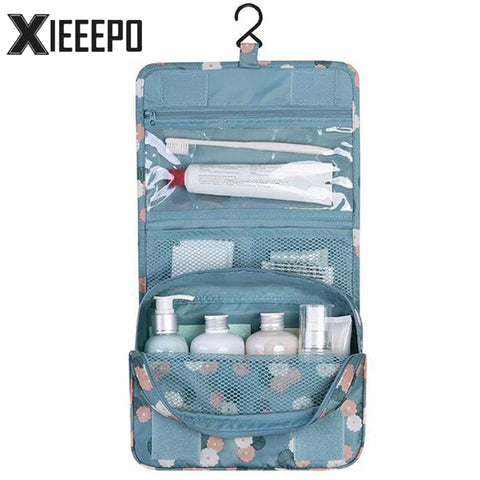 Women Travel Cosmetic Makeup Hanging Bag Zipper Organizer Storage