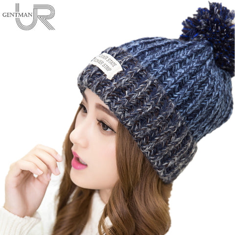 Woman's Warm Woolen Winter Beanies Knitted Fur Cap
