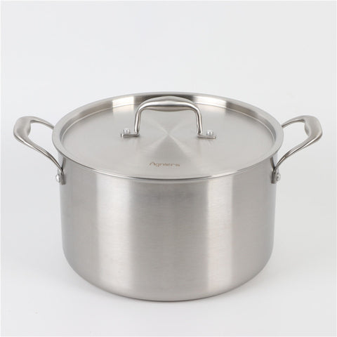 8L 26cm Multi-Ply Clad Stainless Steel Stock Pot Soup Pot With Lid