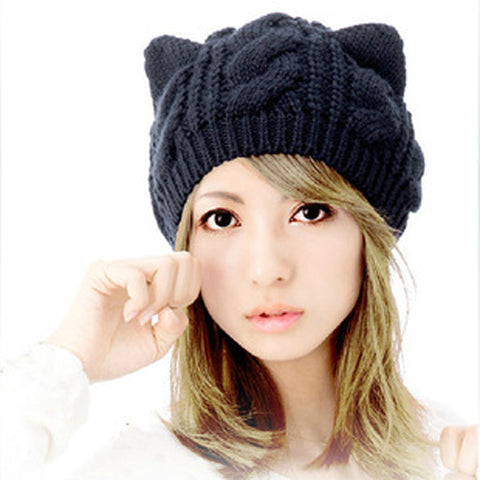 Woman Benies Cap Bonnet Knitted Hat Warm Winter Animal Ear