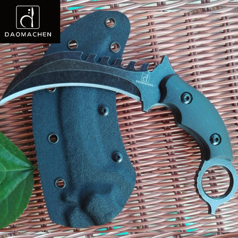Outdoors Tactical Karambit Knife Hunting Claw Knife D2 Blade