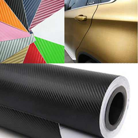 60CM Wide Waterproof Car Motorcycle Carbon Fiber Vinyl Sticker Film 3D 3M