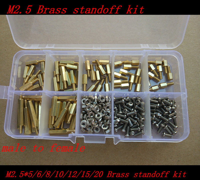 230 Pcs Brass Standoff Spacer Male x Female With M2.5x6 Pan Head Screws And M2.5 Hex Nut Assortment Kit