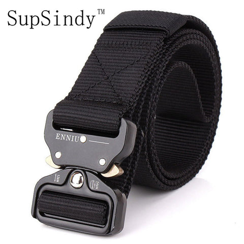 Men's Canvas Tactical Belt Metal Insert Buckle Nylon