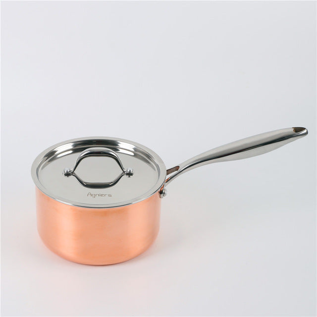 18cm Stainless Steel Milk Pan With Steel Lid Five-Ply Copper Clad Steel Saucepan