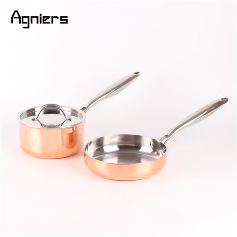 3 Pcs Five-Ply Copper Clad Stainless Steel 16cm Sauce Pan + 20cm Frying Pan