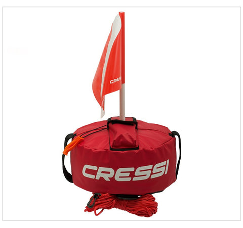 Cressi Scuba Diving TONDA BUOY 20M LINE 3 POCKETS SAFETY WHISTLE