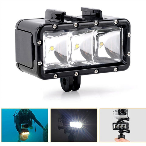 Diving Underwater 3 LED Video Light w/ Battery For Gopro Hero
