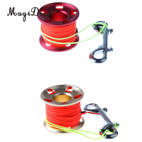 Scuba Diving Aluminum Alloy Finger Spool Reel Line With Double Ended Stainless Steel Bolt Snap