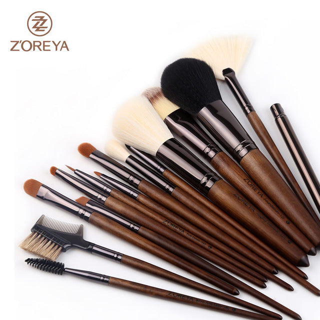15 Pcs Professional Cosmetic Makeup Brush Set Synthetic Hair With Leather Bag