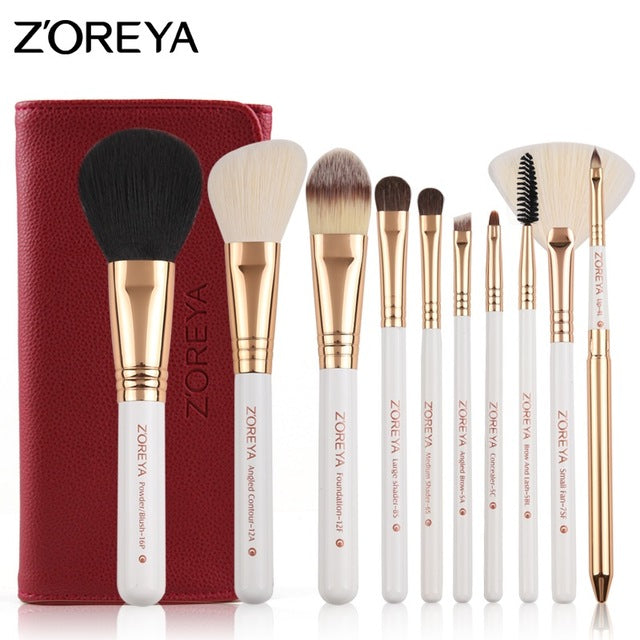 10 Pcs Professional Cosmetic Makeup Brushes Set With Bag