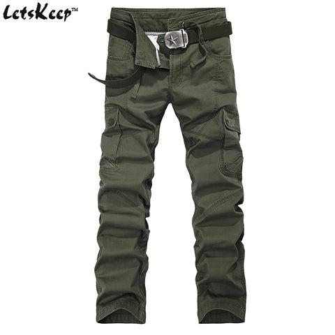Men's Tactical Outdoor Cargo Pants Cotton Military Trousers With Drawstring Size 29-38