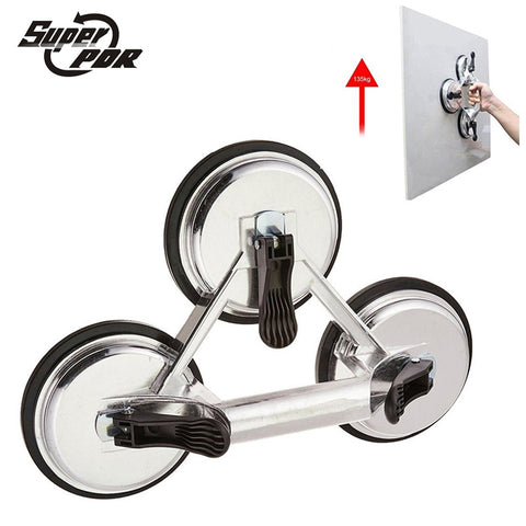 Heavy Duty 120mm Aluminum 3 Cups Claw Glass Suction Plate Sucker for 20-145KG