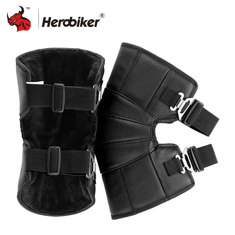 Motorcycle Knee Pads Protector Genuine Leather Winter Warm
