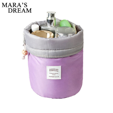 Women Barrel Shaped Drawstring Travel Cosmetic Bag Nylon Wash Makeup Organizer Storage