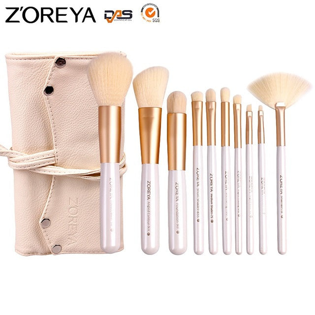 10 Pcs Professional Cosmetic Makeup Brush Set With Pouch