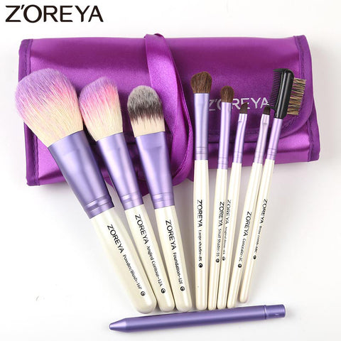 9 Pcs Professional Cosmetic Makeup Brushes Set Goat Hair With Bag
