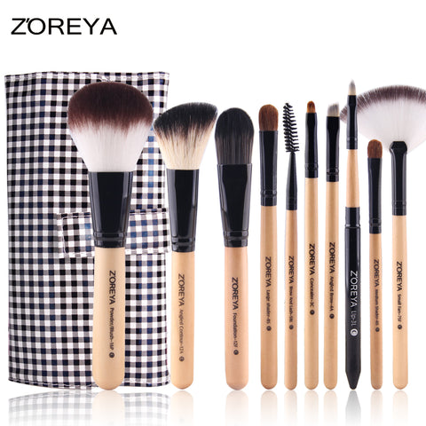 10 Pcs Professional Cosmetic Makeup Brushes Wool Fiber Hair With Bag