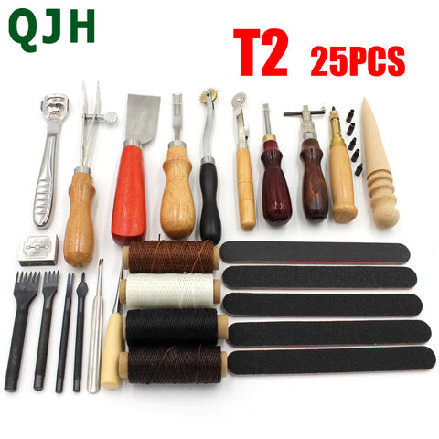 25 Pcs Leather Craft Tools Kit Punch Hole For Stitch Carving Sewing Saddle Groover