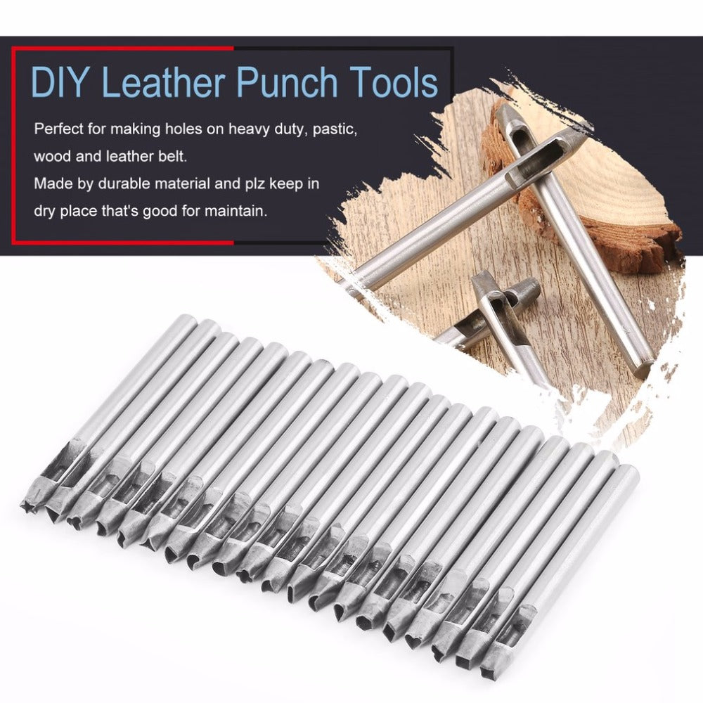 20 PCS Leather Punch Tools Carbon Steel Hollow Belt Puncher Leathercraf Tool