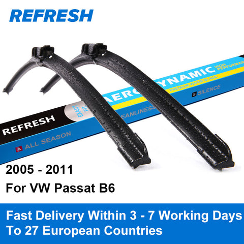 "Car Wiper Blades for Volkswagen Passat B6 24"" and 19"" Fit Push Button Arms 2005 2006 2007 2008 2009 2010"