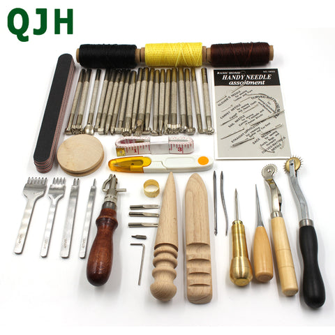 44 Pcs Leather Craft Sewing Tools Set Carving Drilling Punch Edger Trench Stamp Tool