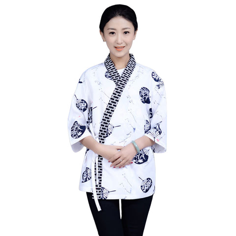 Japanese Restaurant V-neck Chef Waitress Uniform Breathable