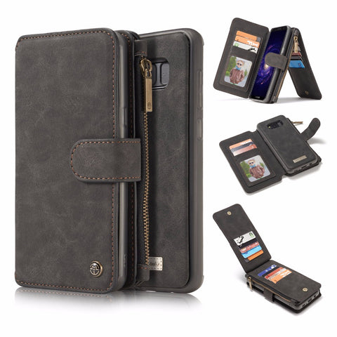 Cellphone Case 2 in 1 Zipper Genuine Leather Wallet For Samsung Galaxy