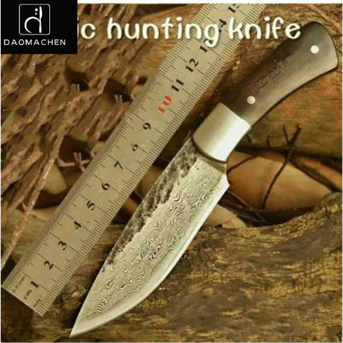 Hunting Knife Damascus Steel Knife Hand Forged High Hardness