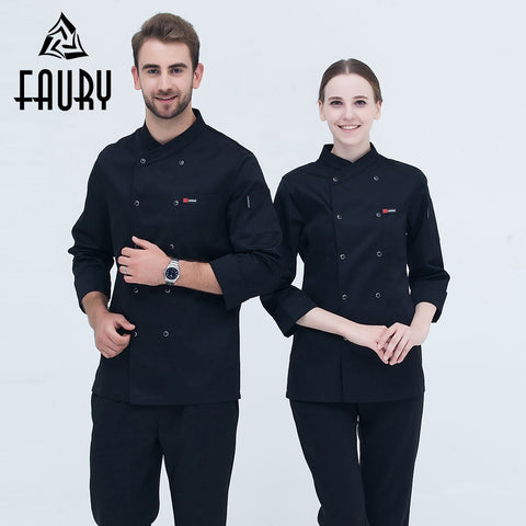 Restaurant Hotel Black Long Sleeve Chef Master Cook Work Uniforms