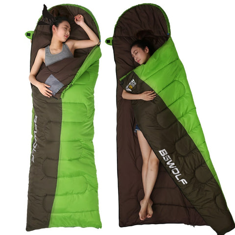Ultralight Cotton Sleeping Bag For Winter Autumn Envelope Hooded
