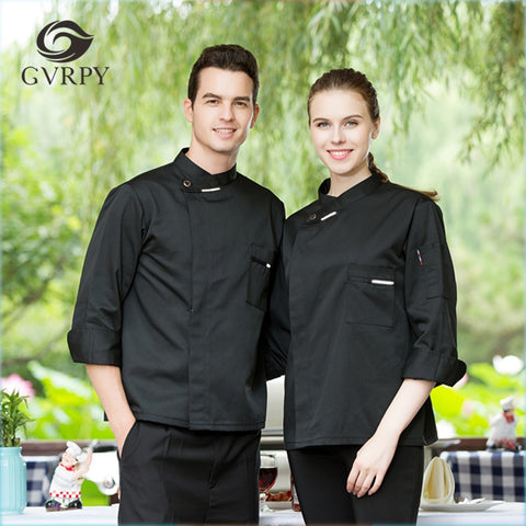 M-3XL Women Men Restaurant Bakery Hotel Chef Waiter Uniform Long Sleeve Single Breasted Breathable