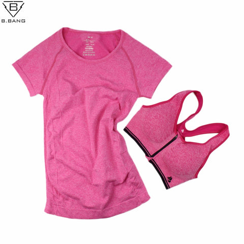 Women Sports Set Sport T-shirt + Bra Quick-Dry
