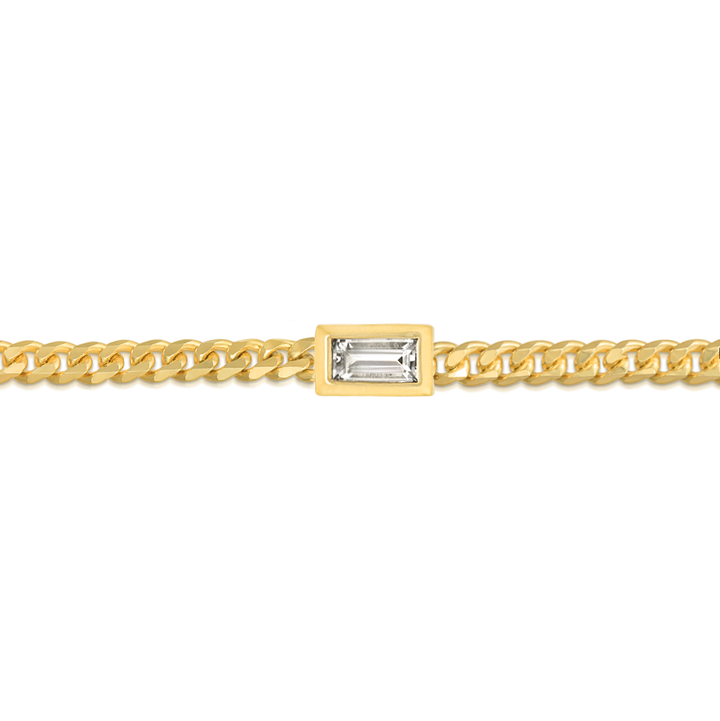 Baguette Diamond Curb Chain Bracelet