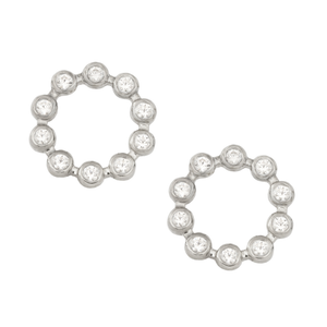 White Gold Circle Earrings