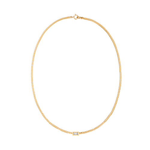 Diamond Baguette Curb Chain Necklace