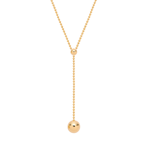 Gold Ball Lariat Necklace