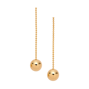 Gold Long Ball Drop Earrings