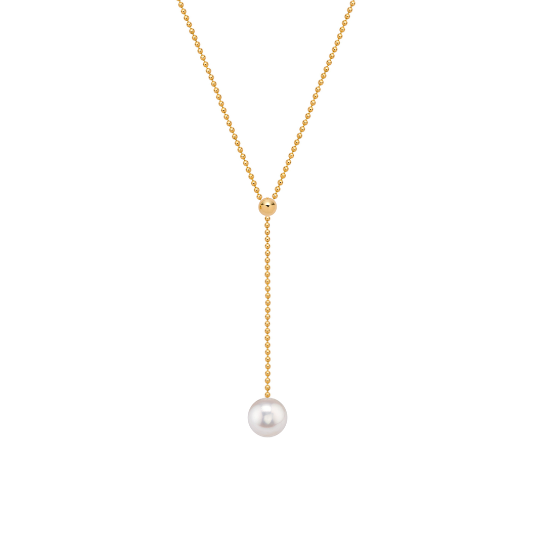 Simple Pearl Lariat Necklace