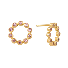 Pink Sapphire Circle Earrings