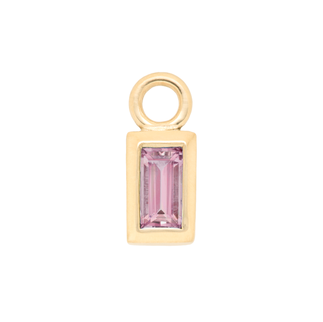 Stackable Pink Tourmaline Baguette Charm
