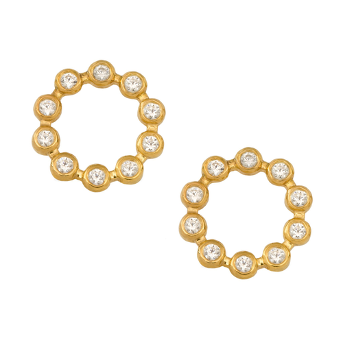Yellow Gold Circle Earrings