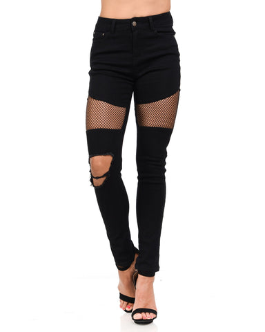 Vinizbena - Women's Fishnet Trim And Rips Skinny Jeans - V.I.M. - 1