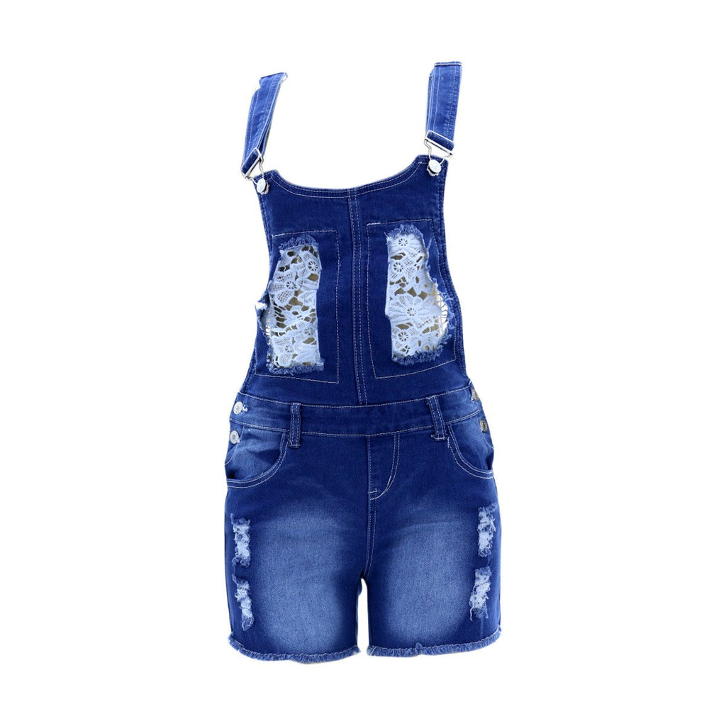 Bamboo - Women's Lace Insert Shortall Jumpsuit - Medium Blue - V.I.M. - 1