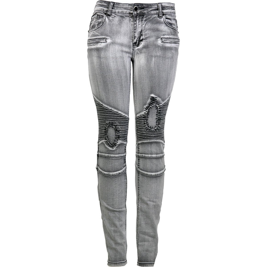 Bamboo - Women's Moto Cross Mended Patch Jeans - Grey - V.I.M. - 1