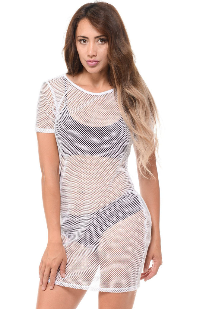 VIM VIXEN Short Sleeve Long Top Fishnet - ShopVimVixen.com