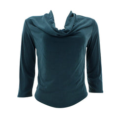 Fashion Magazine - Women's Long Sleeves Drape Neck Top - Teal - V.I.M. - 1