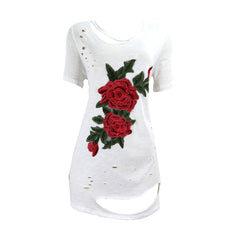 Emory Park - Women's Lovely Rose Embroidered Rips Tunic - V.I.M. - 1